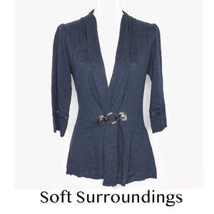 Soft Surroundings Cachet Cardigan In Dark Blue